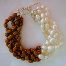 Chocolate & White Color Cultured Pearl Bracelet 5 Strand 7.5""