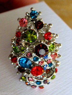 Multi-Color Rhinestone Ring - Size Adjustable