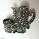 "Crystal Studded Tea Pot and Tea Cup Pin Brooch 1.06"""