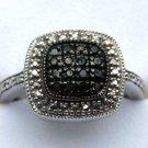 .20 CT Genuine Black Diamond Sterling Silver Cocktail Ring Cushion Shape