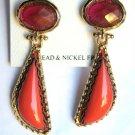 "Coral & Deep Pink Color Acrylic Dangle Earrings 2"" Long"