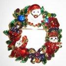 Christmas Wreath Santa & Snowman Pin Brooch with Crystals