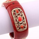 Red Acrylic and Crystal Fold Over Cuff Bracelet