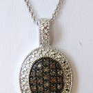 .30 CT Chocolate Brown Color Diamond Sterling Silver Pendant - Oval Shape