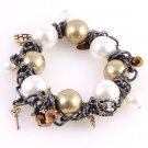 Large Faux Pearl Beaded Chain Stretch Charm Chunky Bracelet