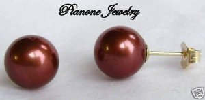 14k Yellow Gold Chocolate Brown Pearl Earrings 7-7.5mm Round