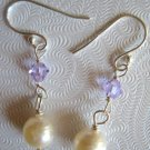 6.5-7mm White Akoya Pearl & Crystal Dangle Earrings