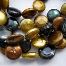"""48"""" Designer Chocolate & Gold & Black Freshwater Coin Pearl Statement Necklace"""