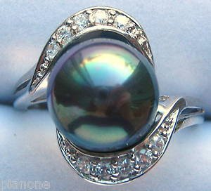 10mm Mother of Pearl .925 Ring - Peacock Black, White, or Chocolate w/CZ Accents