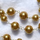 """36"""" Golden Mother of Pearl Necklace & Dangle Earrings 5mm, 8mm and 10mm Beads"""