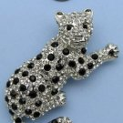 Large Silver Tone with Black Crystal Leopard Pin Brooch 2.44""