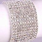 "10-Row White Crystal Rhinestone Bracelet 8"" Sexy and Sparkly"