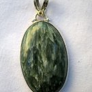 "Green Seraphinite Sterling Silver Pendant 1.75"" Oval Shape"
