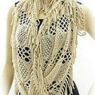 """Crochet Knitted Acrylic Scarf Shawl Soft 60"""" + 3"""" Tassle Ecru Beige Tan Color"""