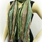 "Green Tan Blue Stripe Viscose Scarf Shawl 72""x24"" +4"" Tassle SOFT"