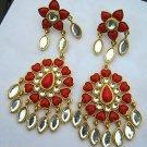 Amrita Singh 'Nutan' Dangle Earrings in Red Coral Haze Resin 18k GP Brass