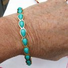 Amrita Singh 18KGP 'Jacosta'  Teardrop Bangle Bracelet Turquoise Color Sz7