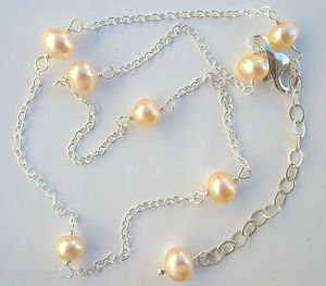 "Pink Cultured Pearl & Sterling Silver 10""-12"" Tin Cup Anklet"