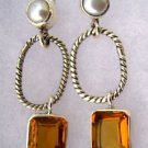 "CZ Citrine and Genuine Pearl Sterling Silver Dangle Earrings 1.5"" Long"
