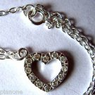 """Sterling Silver .925 Cubic Zirconia Heart Charm Anklet 9"""" - 10"""" with Extender"""