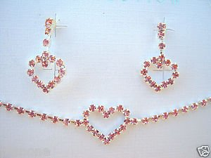 """Powder Pink Crystal Heart 12-14"""" Necklace and Pink Crystal Heart Earrings Set"""