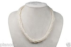 "10-Row Handmade White Rice Seed Pearl Necklace 16-18"" GP Sterling Silver Clasp"