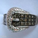 .25ct Champagne Brown Color Diamond Buckle Sterling Silver Ring