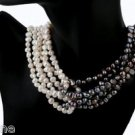 Black, Gray and White Freshwater Cultured Pearl Statement Necklace 18""