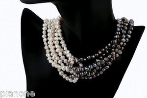 """Black, Gray and White Freshwater Cultured Pearl Statement Necklace 18"""""""