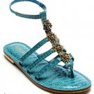 Amrita Singh Designer Louisette Beaded Gladiator Sandals Turquoise Faux Leather