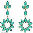 Amrita Singh 'Greenport' Dangle Earrings in Turquoise Resin 18k GP Brass