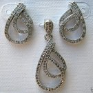Sterling Silver .925 with Cubic Zirconia Pendant and Matching Earring Set