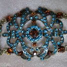 "Antique Goldtone Clear Rhinestone Bracelet 8"" Long Blue & Amber Brown Colors"
