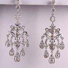 """Silvertone Clear Rhinestone Chandelier Earrings 3"""" Long"""