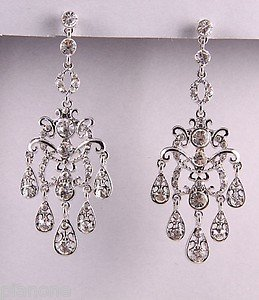 "Silvertone Clear Rhinestone Chandelier Earrings 3"" Long"