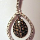 .25 CT Champagne Brown Diamond Pendant -  Tear Drop Cut Out