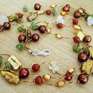 "Carnelian, Citrine, Peridot & Pearl Necklace 3-Strand Gold Silk Thread 18""-20"""