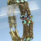 Cuff Bracelet Art Deco Style with AB and Champagne Crystals Antique Gold Tone