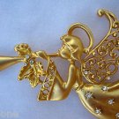 "3.5"" Gold Angel Pin Brooch with Wings Playing Trumpet White Crystals"