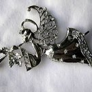 "3.5"" Silver Angel Pin Brooch with Wings Playing Trumpet White Crystals"