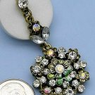 Goldtone White Crystal Drop Dangle Earrings Flower Theme Green & Gold Metal Cast