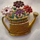 Flower Pin Brooch Multi-Colored Crystal Studded Flowers potted in Gold Water Can