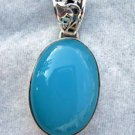 Large Blue Chalcedony Sterling Silver Pendant 10+ carats