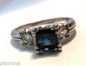 Synthetic Blue Sapphire & Genuine White Diamond Platinum Ring Size 6