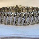"5.0 Ct Diamond Tennis Bracelet 6-Row S-Link Sterling Silver .925 .63"" Wide 7.5""L"
