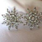 """3/4"""" Crystal Stud Earrings Star Snowflake Shape Metal Disc Backings"""