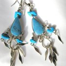 "3"" Arizona Turquoise Dangle Chandelier Earrings with French Hook 3"" Long Silver"