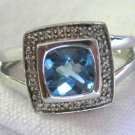 Cushion Cut Blue Topaz Diamond Accent Ring Sterling Silver .925 Size 7 Sizeable