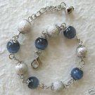 Blue & Silver Beaded Ankle Bracelet 8-9""