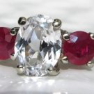 14k White Gold White Sapphire and Ruby Ring with Filigree Carved Band 2.32 Cts